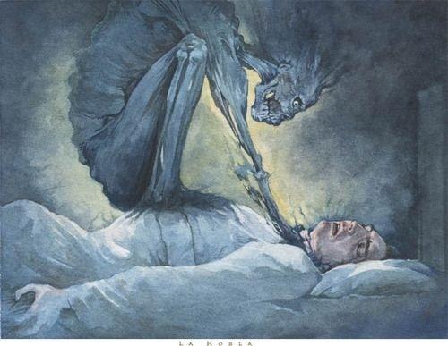 وحش يخنق انسان نائم